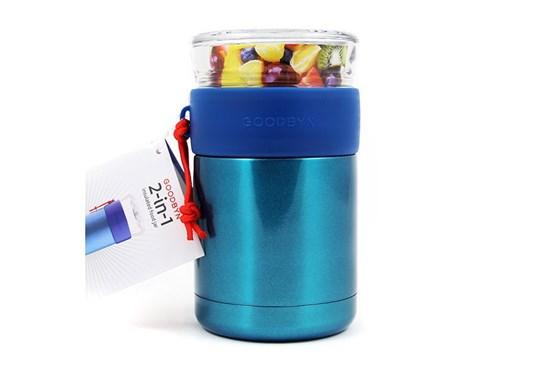 Goodbyn -Termoska na jedlo so skleneným vrchnákom 473ml-modrá