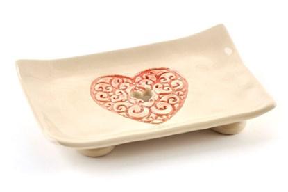 Obrázok pre výrobcu Keramická mydelnička - červené srdiečko