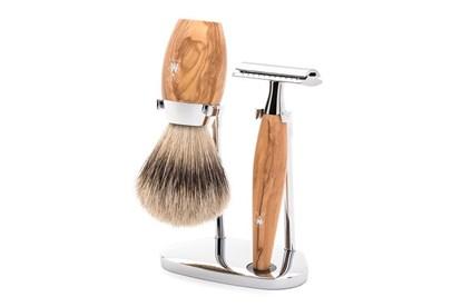 Obrázok pre výrobcu Set na holenie - strieborný jazvec a olivové drevo