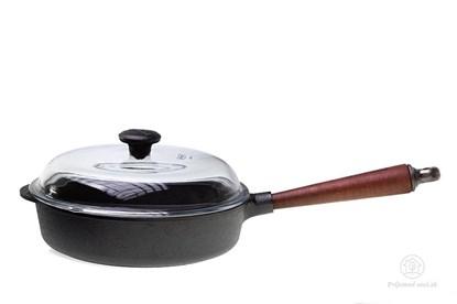 Obrázok pre výrobcu Hlboká liatinová panvica s bukovou rúčkou a pokrievkou - 25 cm